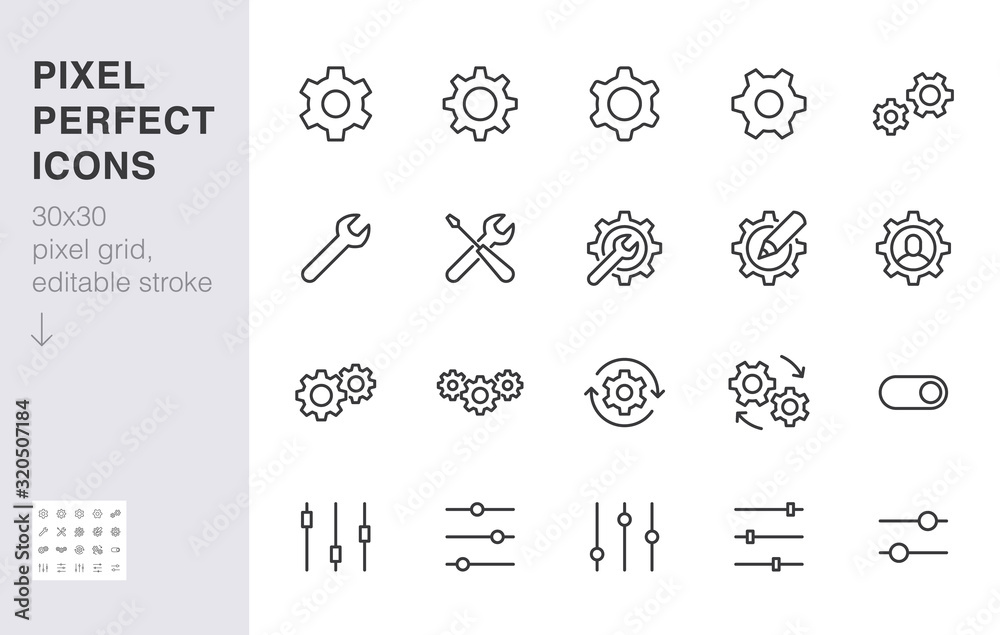 Fototapeta Gear, cogwheel line icons set. App settings button, slider, wrench tool, fix concept minimal vector illustrations. Simple flat outline signs for web interface. 30x30 Pixel Perfect. Editable Strokes