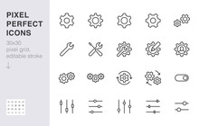 Gear, Cogwheel Line Icons Set....