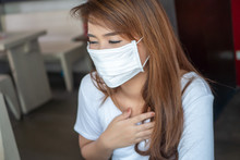 Sick Woman With Face Mask; Con...