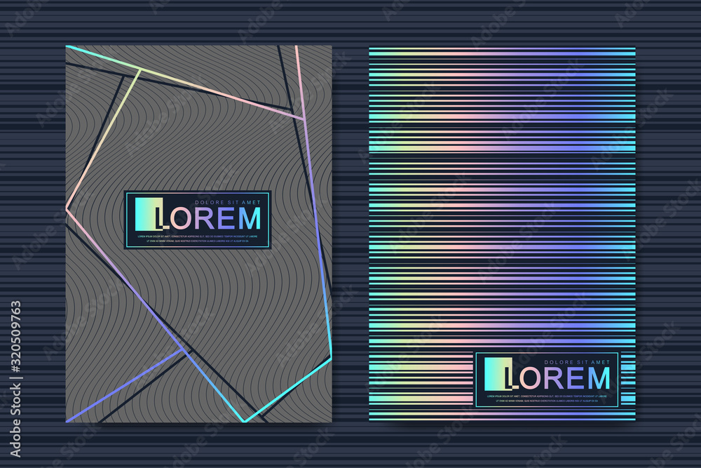 Fototapeta Modern template design for a cover, posters, report, brochure, flyer, leaflets. 3D lines optical illusion covers with glitched forms and geometric shapes. Futuristic science and technology design.