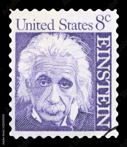Photo UNITED STATES OF AMERICA - CIRCA 1965: A postage stamp with a portrait of famous physicist Albert Einstein (1879-1955), commemorating the 10th year since his death, printed in America, circa 1965