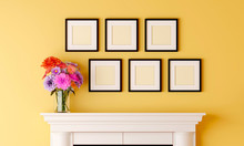 Six Black Blank Picture Frame ...