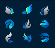 Vector Wings Logo Set, Abstrac...