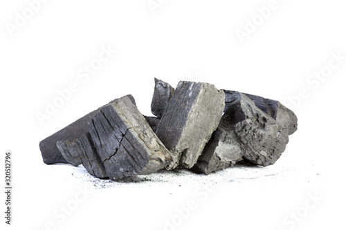 Natural wood charcoal Isolated on white, traditional charcoal or hardwood charcoal, isolated on white background Wallpaper Mural