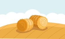 Round Hay Bale In Field In Flat Style. A Stack Of Hay Vector Illustration