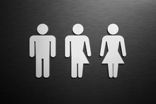 Male, Female And Third Gender Toilet Symbols. 3D Rendered Illustration.