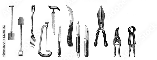 Fotografía Garden tools - Antique engraved illustration from Brockhaus Konversations-Lexiko