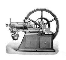 Old Gas Engine Machine  - Antique Engraved Illustration From Brockhaus Konversations-Lexikon 1908