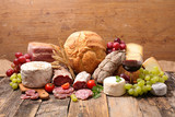 Fototapeta Kawa jest smaczna - red wine, cheese, salami and bread