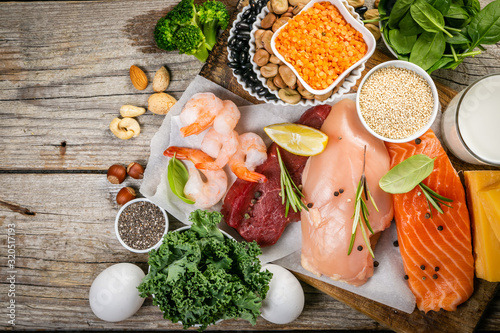 Selection of animal and plant protein sources - fish, meat, beans, cheese, eggs, Fototapeta