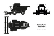 Black Silhouette Of Combine Harvester. Side, Front And Top View Of Agriculture Machinery. Farming Vehicle. Industrial Isolated Drawing