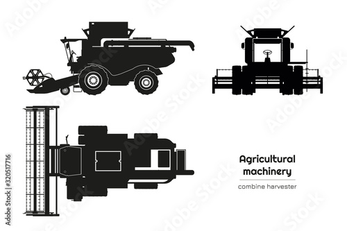 Fototapeta Black silhouette of combine harvester. Side, front and top view of agriculture machinery. Farming vehicle. Industrial isolated drawing obraz