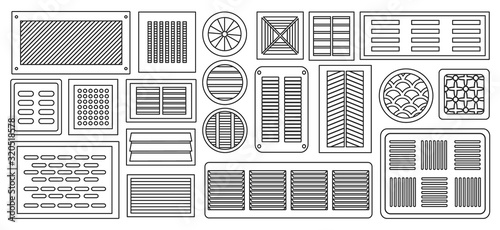 Valokuvatapetti Air vent vector outline,line set icon