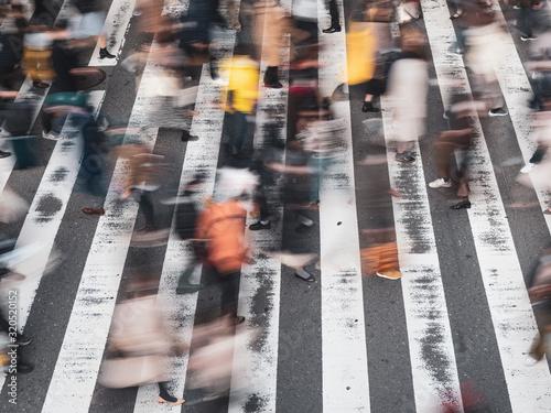 Fotografia Pedestrians across The Street, 横断歩道を渡る歩行者の様子