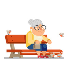 Grandmother Feeding Birds On O...