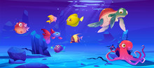 Underwater Sea Life. Vector Cartoon Illustration Of Ocean Animals And Fish. Undersea Landscape With Cute Octopus, Turtle And Different Fish. Funny Aquatic Creatures