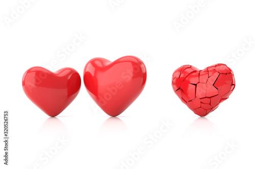 Vászonkép Broken heart background. 3D rendering.