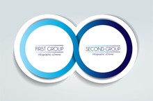 2 Circle Connected 3D Infographic. Two Labels. Vector Template.