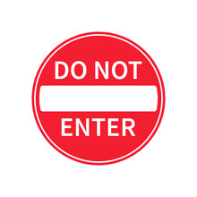 No Entry Road Sign Icon Shape....