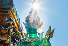 Emerald Buddha Statues In The Sun Of Wat Phrathat Doi Suthep Temple. Most Important Temple In Chiang Mai, Thailand.