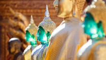 Golden And Emerald Buddha Statues In The Sun Of Wat Phrathat Doi Suthep Temple. Most Important Temple In Chiang Mai, Thailand.