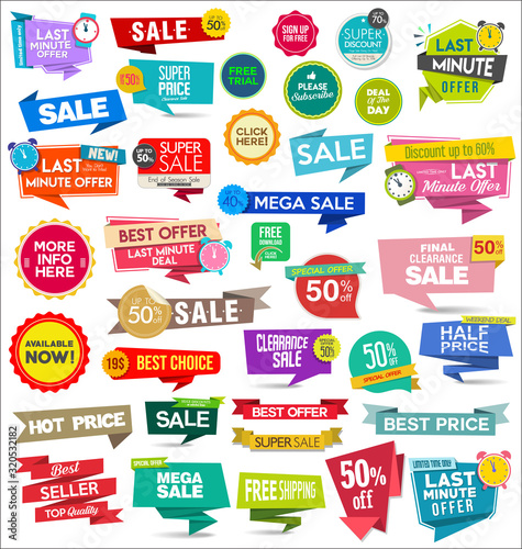 Obraz Collection of colorful sale stickers and tags  - fototapety do salonu