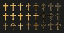 Christian Cross. Gold Crosses, Simple Decorative Crucifix. Catholicism Church Religion Vector Symbols. Christianity And Catholicism Symbol Shape, Crucifix Cross Illustration