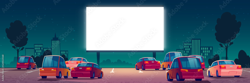 Fototapeta Outdoor cinema, drive-in movie theater with cars on open air parking. Vector cartoon summer night city with glowing blank screen and automobiles. Urban entertainment, film festival