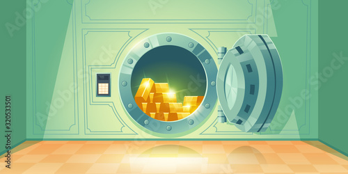 Fototapeta Bank vault with open safe door. Vector cartoon illustration of room with round steel door and dial lock for money storage. Bank safe with gold ingots inside obraz