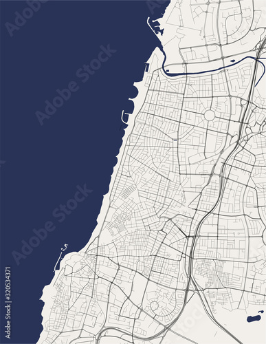 map of the city of Tel Aviv, Yafo,Jaffa, Israel Wallpaper Mural