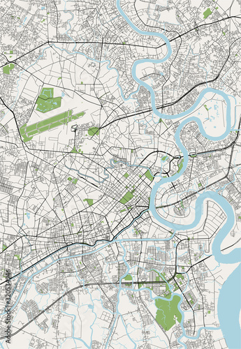 map of the city of Ho Chi Minh City, Vietnam Wallpaper Mural