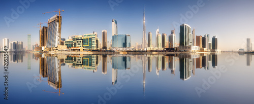 Fototapeta Cityscape of Dubai and panoramic view of Business bay, UAE