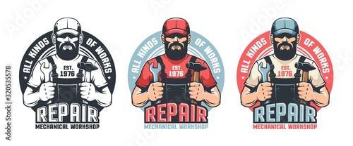 Fototapeta Repair man worker vintage logo. Mechanic workshop retro emblem. DIY man in old school badge. Vector illustration. obraz