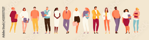 Fototapeta Group standing office of people of different nationalities and ages. Multiethnic company vector illustration obraz
