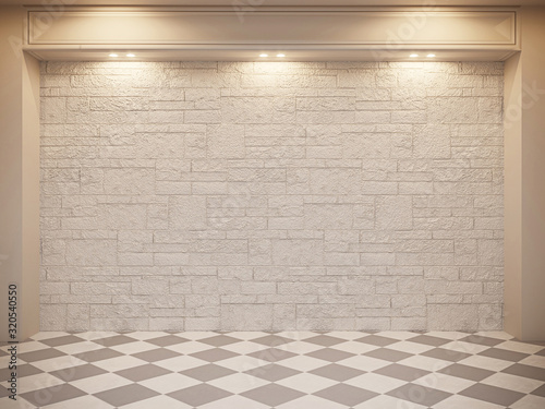 Realistic mock up of empty interior room apartment. 3d render