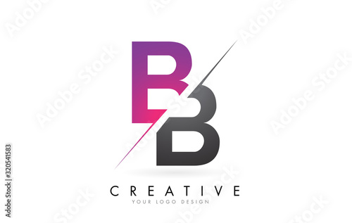 BB B B Letter Logo with Colorblock Design and Creative Cut. Wallpaper Mural