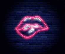 Female Pink Lips Neon Vector I...