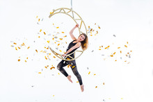 Woman Hanging In Aerial Silk I...