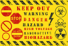 Safety Warning Diagonal Stripes. Danger, Keep Out, Hazard Icon Shape Sign. High Voltage, Radioactive, Toxic Logo Symbol. Vector Illustration Image. Isolated On Yellow Background. Grunge Texture.