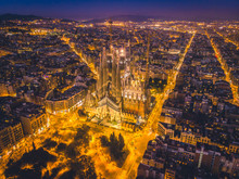 La Sagrada Familia In Night - Cathedral Designed By Antoni Gaudi, Which Is Being Build Since 1882 And Is Not Finished Yet February 14, 2019, In Barcelona, Spain.