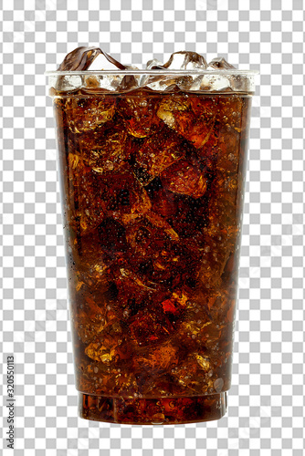 Photo Cola in takeaway plastic cup or glass with straw and ice cubes isolated on checkered background