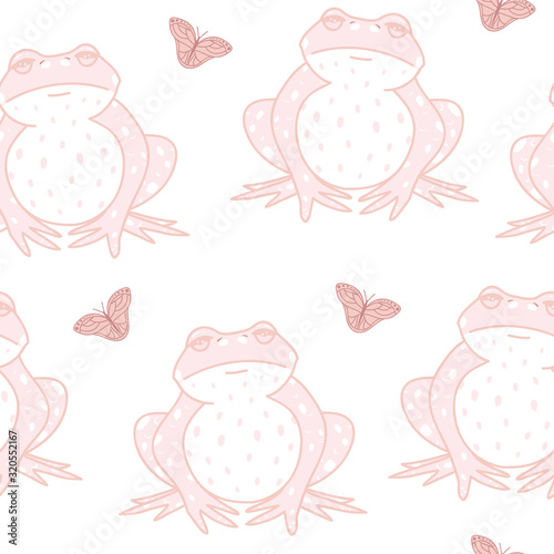 Vector Frogs with Butterflies in Pink seamless pattern background Wallpaper Mural
