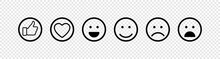 Emoticons Web Icons. Emoticons Set, Isolated On Transparent Background. Emojis Collection. Emoji Faces. Web Icons In Modern Simple Flat Design. Smiley Faces Vector Icons. Vector Illustration