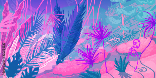 Photo Wild tropical landscape at forest with jungle plants