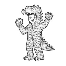 Boy Kid Dressed As Dinosaur Sketch Engraving Vector Illustration. T-shirt Apparel Print Design. Scratch Board Imitation. Black And White Hand Drawn Image.