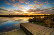 canvas print picture - Beautiful sunrise over river banks