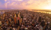 New York City Skyline With Man...