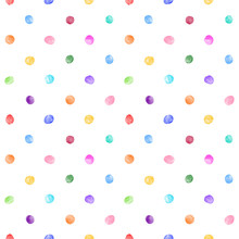 Colorful Watercolor Round Spots, Uneven Tiny Polka Dots Seamless Vector Pattern. Circle Shape Brush Strokes, Paint Stains, Smudges, Watercolour Smears Background. Hand Drawn Multicolor Dot Texture.