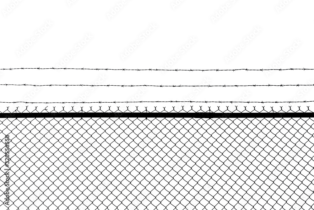 Fototapeta Metal fence with barbed wire isolated on a white background