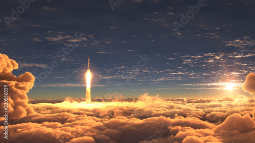 Rocket flies through the clouds at sunset Wallpaper Mural